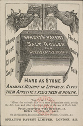 Advert for Spratt's Meat Fibrine Dog Cakes, reverse side